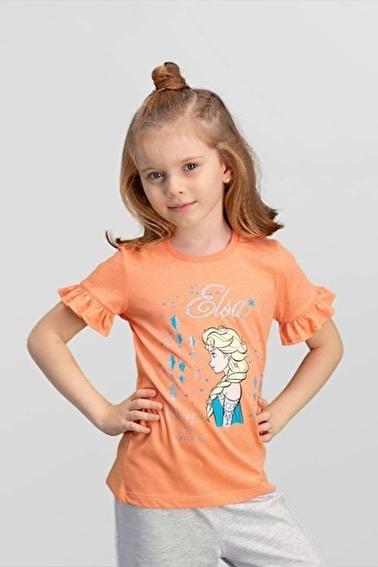 Frozen Karlar Ülkesi Elsa - Lisanslı Kız Çocuk T-Shirt Pembe